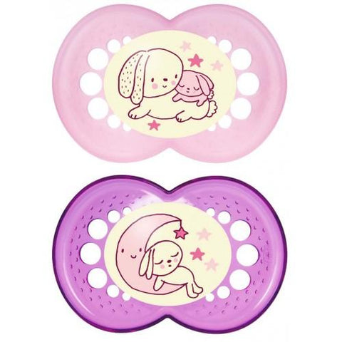 MAM 6+ month soother NIGHT GIRL x 2 pack - Hushabyebaby.co.uk