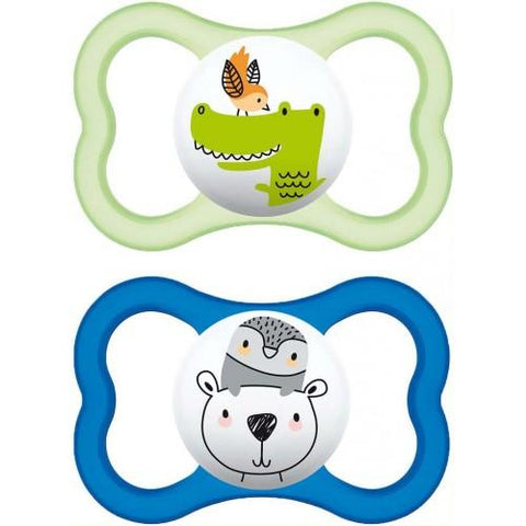 MAM AIR 6+ month Soother x 2 BOY - Hushabyebaby.co.uk