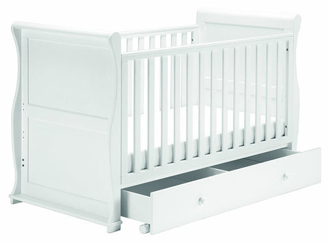 East Coast Nursery Alaska Sleigh Cotbed with Drawer - White - Hushabyebaby.co.uk