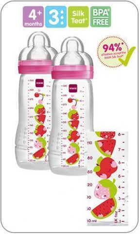 Baby Bottle 330 ml 2 pack GIRL by MAM - Hushabyebaby.co.uk