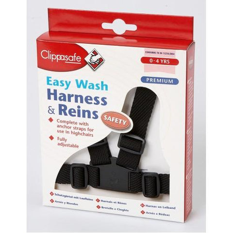 Clippasafe Harness and Reins Easy Wash Black - Hushabyebaby.co.uk