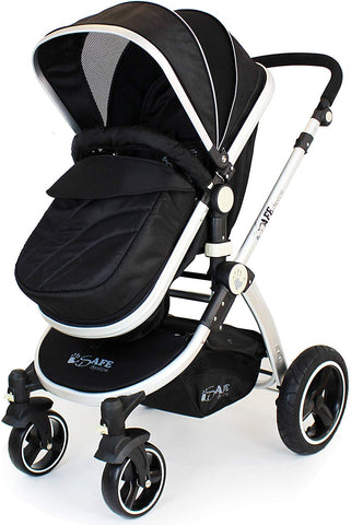 2 in 1 iSafe Pram System - Black - Hushabyebaby.co.uk