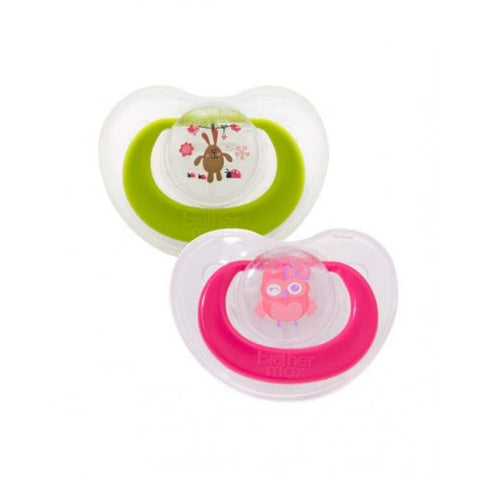 Crystal Clear Pacifier (Pink/Green) - Hushabyebaby.co.uk