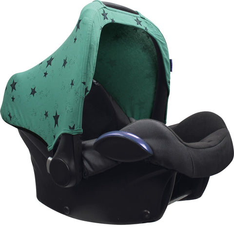 Dooky Hoody Replacement Infant Car Seat Hood Green Star - Hushabyebaby.co.uk