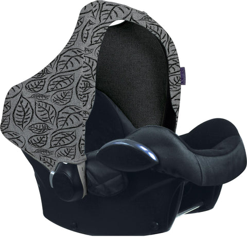 Dooky Hoody Replacement Infant Car Seat Hood Grey Leaves - Hushabyebaby.co.uk