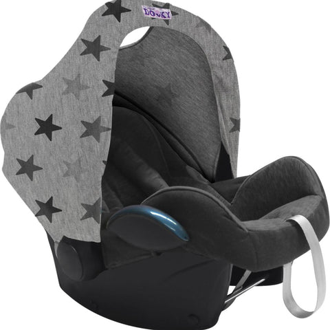 Dooky Hoody Replacement Infant Car Seat Hood Grey Stars - Hushabyebaby.co.uk