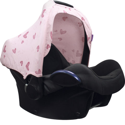 Dooky Hoody Replacement Infant Car Seat Hood Pink Heart - Hushabyebaby.co.uk