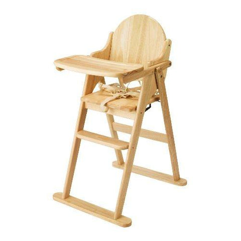 East Coast Highchairs - All Wood Folding Highchair - Beech - Hushabyebaby.co.uk