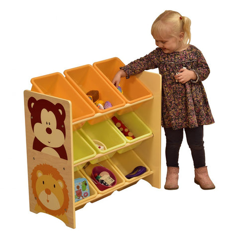 Jungle Toy Shelf with 9 Plastic Bins - Hushabyebaby.co.uk