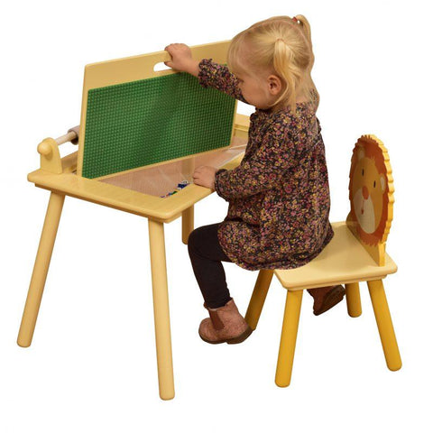 Jungle Writing Table and Chair with Lego Board - Hushabyebaby.co.uk