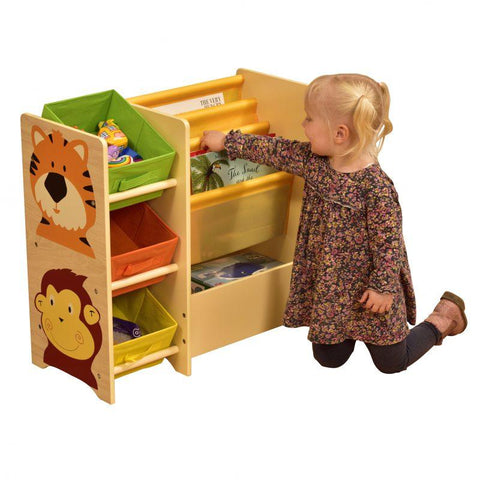 Jungle Magazine Shelf with 3 Non-woven Bins - Hushabyebaby.co.uk
