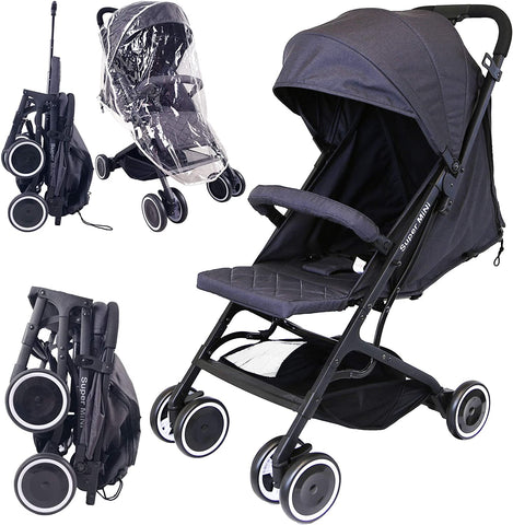 iSafe Stroller - Super Mini Stroller Black (Complete with Rain Cover) - Hushabyebaby.co.uk