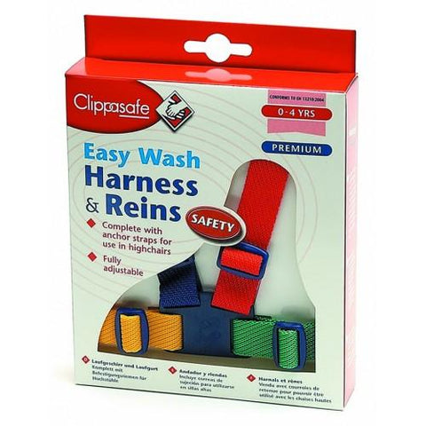 Multi-coloured Harness  and Reins Easy Wash by Clippasafe - Hushabyebaby.co.uk