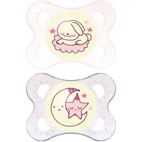 MAM 0+Month Soother NIGHT GIRL x 2 pack - Hushabyebaby.co.uk