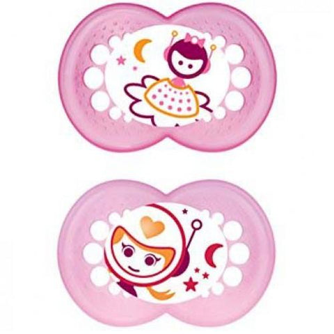 MAM 12+ month soother GIRL 2 pack NIGHT - Hushabyebaby.co.uk