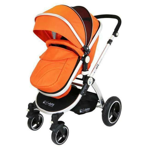 2 in 1 iSafe Pram System - Orange - Hushabyebaby.co.uk