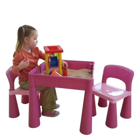 5 in 1 Multipurpose Activity Table and 2 Chairs - Pink - Hushabyebaby.co.uk