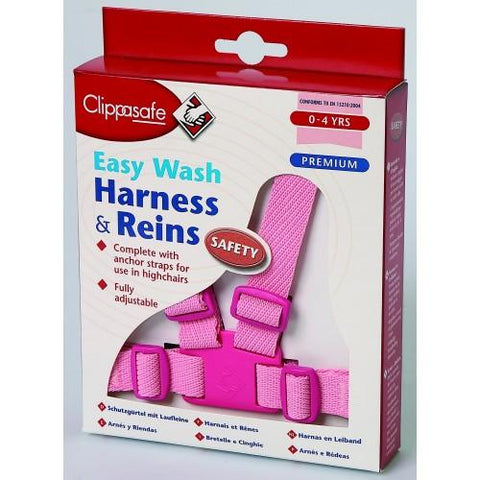 Clippasafe Harness and Reins Pink - Easy Wash - Hushabyebaby.co.uk
