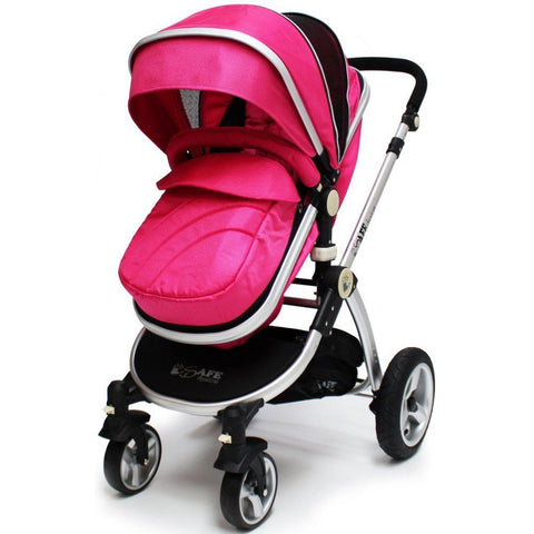 2 in 1 iSafe Pram System - Pink - Hushabyebaby.co.uk
