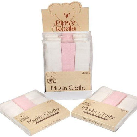 Pipsy Koala Muslin Cloths 3 pack (white pink) - hushabyebaby-co-uk