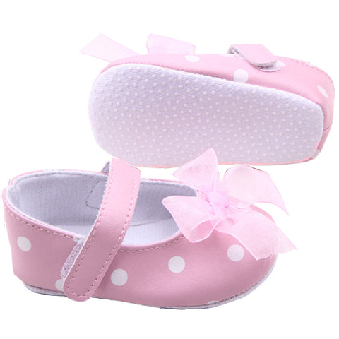 Hot Sweet Baby Girl Polka Dot Printed Shoes With PU Leather - Hushabyebaby.co.uk