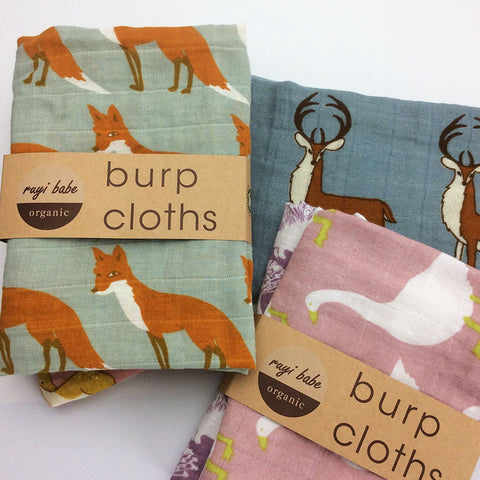 Two Piece Baby Burp Cloths - Organic Muslin cotton - various animal prints - Hushabyebaby.co.uk