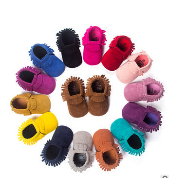 Suede And Leather Newborn Baby Boy/Girl Moccasin Shoes - Hushabyebaby.co.uk