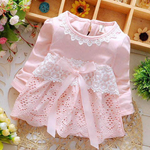 Baby Girl's Short-sleeved Lace Dress (6-24 months) - hushabyebaby-co-uk