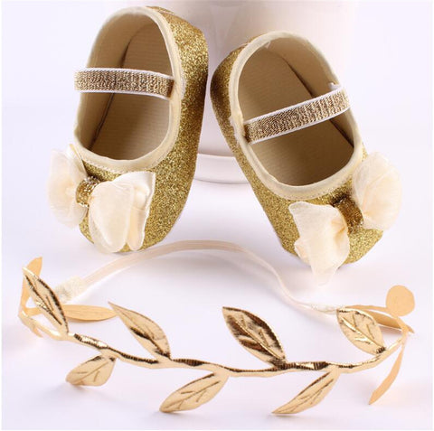Fashionable Baby Girl Shoes With Big Bow In Gold/Silver - Hushabyebaby.co.uk