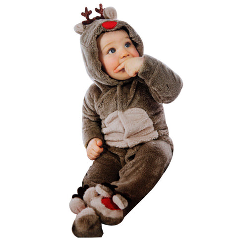 Warm Winter Newborn Baby Girl or Boy Deer Romper Outfit (Ages 0-2 years) - Hushabyebaby.co.uk