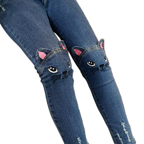 Girls' Jeans With Cute 3D Cartoon Cat - High Quality (3-10 years) - Hushabyebaby.co.uk