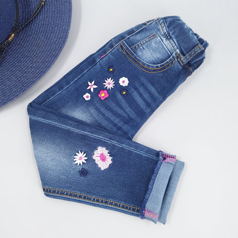 Autumn Girls' Jeans  100% Cotton Stretchy Soft Denim With Embroidery Flowers - Hushabyebaby.co.uk