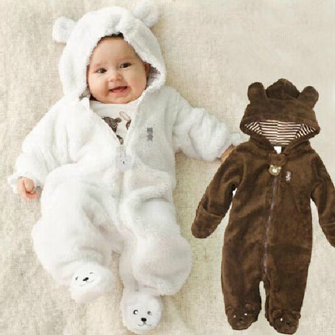Winter  Baby Romper Suit -Bear Style - Fleece With Hood (3 - 9 months) - hushabyebaby-co-uk.myshopify.com