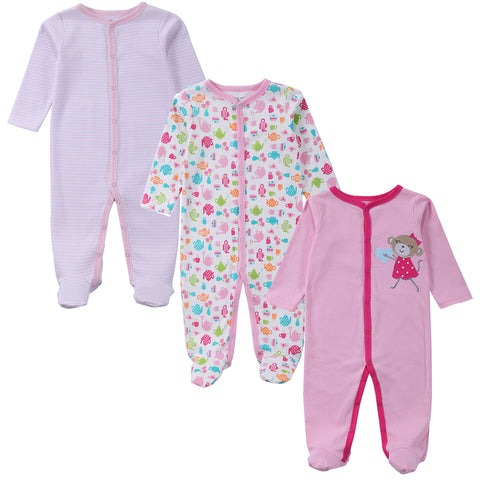 Girl's and Boy's Baby Romper Pyjamas Long Sleeves 100% Cotton Three Piece (0-12 months) - hushabyebaby-co-uk