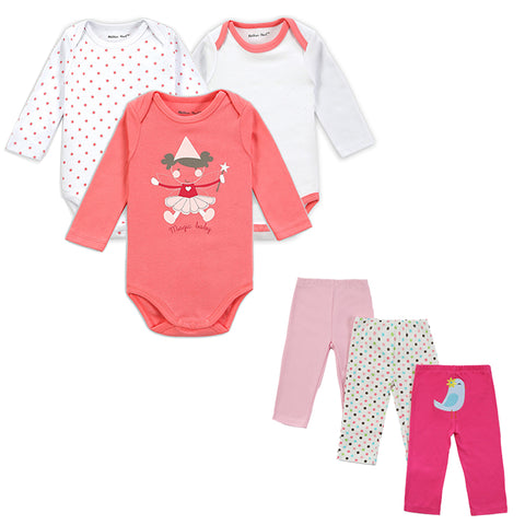 Six Piece  Baby Girl/Boy Clothing  Romper Set with Long Sleeves  and Trousers (3-12 months) - hushabyebaby-co-uk
