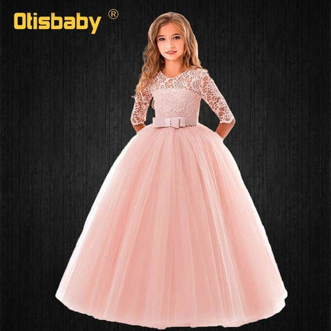 0c00d0b4445bc Flower Girls Pink Tulle Ankle Length Wedding Dress Kids Birthday Party