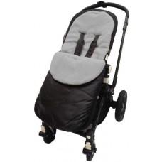 Cuddles Footmuff for Pushchair black with grey fleece - Hushabyebaby.co.uk