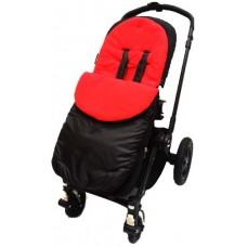 Cuddles footmuff for pushchair black with red fleece - Hushabyebaby.co.uk