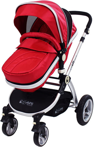 2 in 1 iSafe Pram System - Warm Red - Hushabyebaby.co.uk