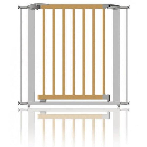Extendable Swing Shut Gate - Silver Metal and Wood by Clippasafe - Hushabyebaby.co.uk
