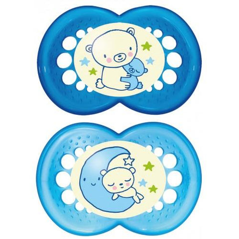 MAM 6+ month soother NIGHT BOY x 2 pack - Hushabyebaby.co.uk