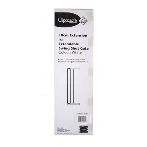 Extendable Swing Shut Gate Extension - White by Clippasafe - Hushabyebaby.co.uk