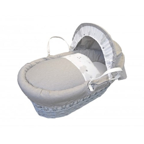 Grey Wicker Sweet Dreams Moses Basket with Marble Grey by Cuddles - Hushabyebaby.co.uk