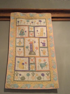 "Baby Quilt - ""Angels, Bunnies & Lollipops"""