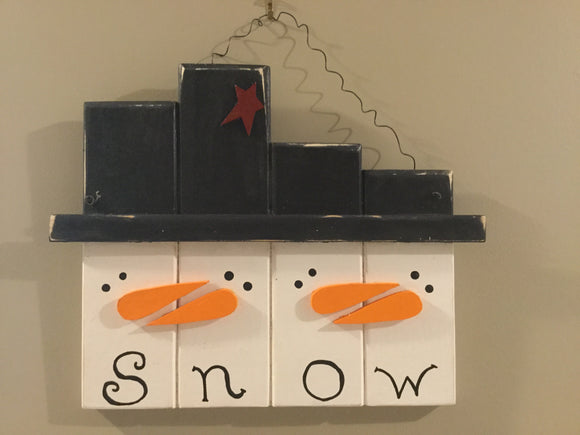 "Christmas/Winter Wall Hanging - Quad ""SNOW""man Heads"