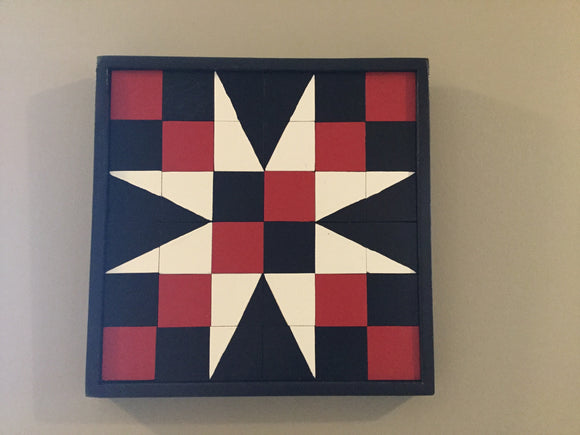 "Mini Barn Quilt -""Fifty-FourForty"" Star (Red/White/Black)"