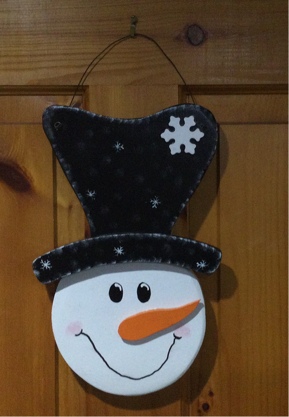 Christmas/Winter Wall Hanging - Snowman Head with Large Top Hat