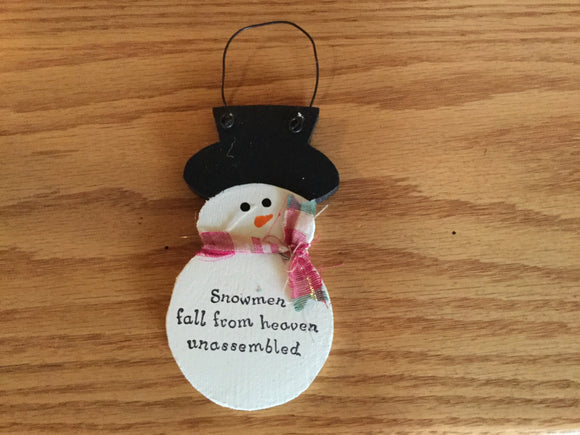 "Christmas Ornament - Snowman ""Snowmen Fall from Heaven..."""