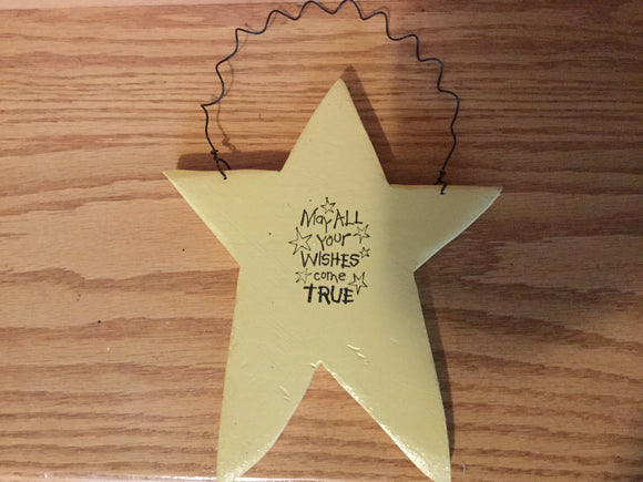 "Large Christmas Ornament/Decoration - Star - ""May All Your Wishes Come True"""