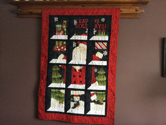 "Quilt - ""Happy Holidays"" - Santa through the Attic Window"